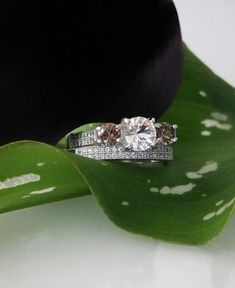 Reserved Down Payment for Jennifer, Herkimer Diamond Engagement Ring with Matching Wedding Band Micro Pave Sterling Silver Matching Wedding Bands, Wedding Matches, Wedding Rings, Engagement Ring Settings, Diamond Engagement Rings, Diamond Alternatives, Herkimer Diamond, Gemstones, Boho