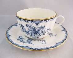 Royal Worcester Mansfield Tea Cup Blue And by WrappedRoundMyFinger, $24.00
