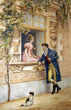 Lionel Péraux 'The romantic visit', beautiful painting~~ Romantic Paintings, Classic Paintings, Beautiful Paintings, Victorian Paintings, Victorian Art, Renaissance Kunst, Art Ancien, Classical Art, Couple Art