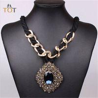 BXXL 2014 joyería collar de los colgantes de cristal de lujo de Nueva Cuerda Cadena Declaración Chunky encanto Collares Estilo de moda único de 3922