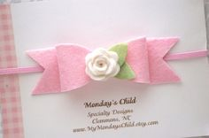 Pink Baby Bow Baby Headband Baby Bows Felt by MyMondaysChild