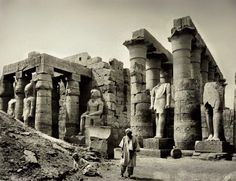 Luxor Temple with statues of Ramses in the 1870s. 🌹