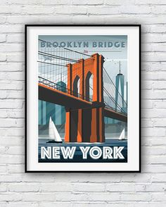 Brooklyn Bridge Print New York Print Travel Poster New York New York Poster, Poster City, Brooklyn Bridge New York, Travel Drawing, New York Art, World Pictures, Packing Tips For Travel, City Art, Travel Posters