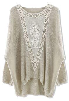 Crochet Floral Oversize Kint Top