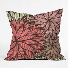 Gabi Orange Dahlia Throw Pillow #fall #leaves #nature #bedding #bedroom