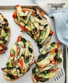 Sandwichs ouverts aux légumes grillés et au fromage fondant #recette