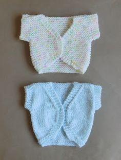 Hope you enjoy my latest design - a simple but sweet sleeveless baby bolero jacket.     Four sizes at present ~ Newborn, la...