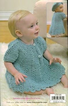 Baby Dress and Beret free crochet pattern. I made this one for Amanda, still have it. Crochet Bebe, Baby Girl Crochet, Crochet Baby Clothes, Crochet For Kids, Knit Crochet, Crochet Hats, Booties Crochet, Crochet Dresses, Baby Patterns