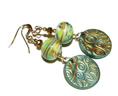 Rustic Stamped Coin with Lampwork Bead Earrings by BilliardDesigns on Etsy  SOLD