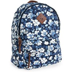Aeropostale Blossom Backpack ($35) ❤ liked on Polyvore featuring bags, backpacks, classic navy, backpacks bags, floral backpack, blue flower backpack, flower print backpack and padded backpack