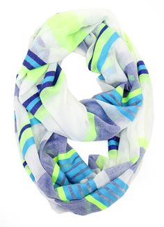 Multi-Colored Striped Infinity Scarf #May23Online $12.00 #fashion
