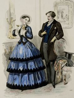 Lithographie de mode antique 1851 d'un par TheOldPrintsCabinet