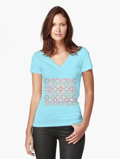 41dc597fe Tile Style Abstract Color Effect | Fitted V-Neck T-Shirt