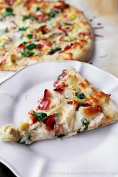 Chicken Bacon Artichoke Pizza with a Creamy Garlic Sauce would be a great recipe to make for the super bowl.