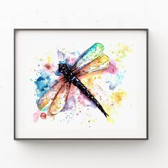 Dragonfly Painting, Peacock Painting, Dragonfly Art, Animal Art Prints, Bird Prints, Fine Art Prints, Peacock Wall Art, Butterfly Wall Art, Rainbow Butterfly