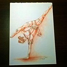 """""""Dançarino em sanguíneo"""" (lápis sanguíneo e caneta técnica s/ papel) #art #arte…"""