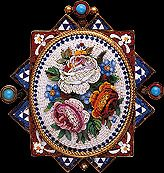 Victorian Micro Mosaic Jewelry   Flower Micro-Mosaic Pendant with Hair Receiver