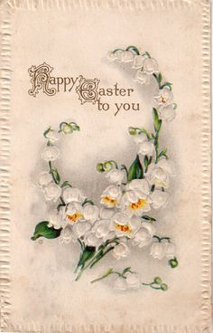 "Reproduced vintage postcards dating back to 1910, displaying quaint phrases or illustrations appropriate for a handful of special events: Card reads ""Happy Easter to You"" - Custom textured paper - Emb"