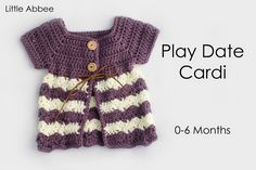 Little Abbee free crochet pattern Crochet Baby Cardigan Free Pattern, Baby Sweater Patterns, Crochet Cardigan, Cardigan Pattern, Dress Patterns, Crochet Baby Clothes, Baby Girl Crochet, Cute Crochet, Crochet For Kids
