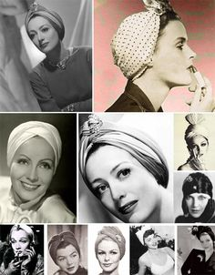 Vintage Hairstyle century turban in fashion. Head Turban, Turban Headbands, 1940s Fashion, Vintage Fashion, Vintage Outfits, Turban Mode, Fashion Through The Decades, Cowgirl Style Outfits, Head Scarf Styles
