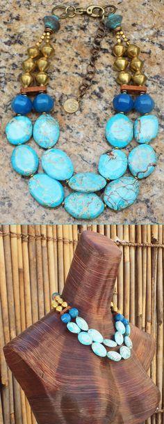 Barrier Reef: Aqua Blue Jasper, Brown Terra Cotta & African Brass Statement Necklace $225