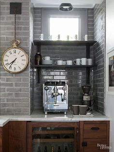 rustic industrial masculine coffee nook