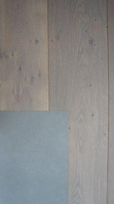 MoreFloors vloeren - Breda Europees eiken multiplank geschuurd licht gerookt + wit 4-9x180 breed, strakke overgang hout-tegel vloer