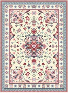 Petit-point miniature rug.  Wouldn't mind making this for my doll house, but with shades of green instead of blue.