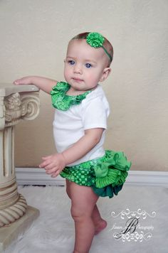 St Patricks Day Outfit Ruffle Diaper Cover