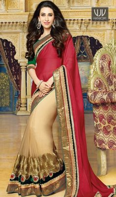 Buy Now @http://goo.gl/ydai4R  Karishma Kapoor Lovely Red And Beige Designer Saree  Give in to the exotic confluence of today and tomorrow in this beautiful attire. Spread the aura of freshness with this Karishma Kapoor red and beige net and faux chiffon saree showing a touch of sensuality.  Product No  VJV-HITA10055  @ www.vjvfashions.com  #saree #sarees #indianwear #indianwedding #fashion #fashions #trends #cultures #india #instagood #weddingwear #designer #ethnics #clothes #glamorous