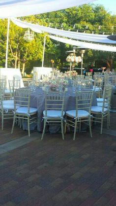 Rustic China various chairs, chiffon draping with market lights- rentals by Platinum Event Rentals. Venue Japanese Friendship Garden. Just Lovely!