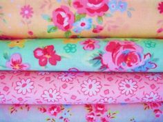 Shabby Chic Blue and Pink Roses Fat Quarter Bundle