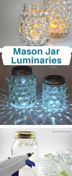 Mason Jar Luminaries | Create a mason jar luminary - similar to a scatter candle - the easy way. #christmascandlesjars
