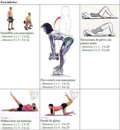 Rutina de entrenamiento de 4 / 5 días semanales para mujeres que empiezan en el mundo del fitness y entrenan en casa o en el gimnasio. Plan segundo mes.