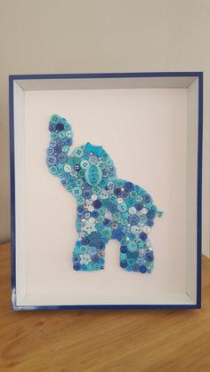 Baby Nursery Wall Art Elephant Framed Button by Tooobabywithlove