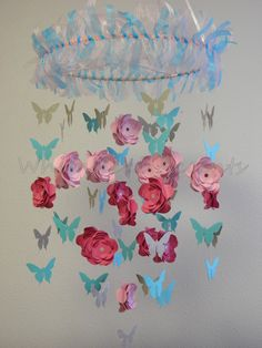 Cherry Blossom and  Butterfly Baby Paper Mobile
