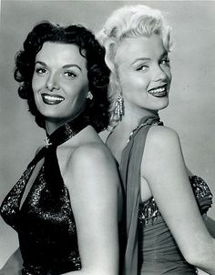 "Not Noir (though Jane Russell made a few Noirs) Jane Russell and Marilyn Monroe from ""Gentlemen Prefer Blondes"", 1953. This is a cute movie, & I love the TECHNICOLOR look of it."