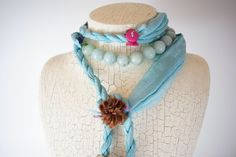 A personal favorite from my Etsy shop https://www.etsy.com/listing/559480395/silk-turquoise-wrap-tie-necklace