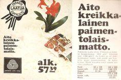 Taivastellen: Mainoksia 70-luvulta Good Old Times, Ads, Memories, History, Retro, Irene, Vintage, Rustic, Historia