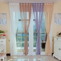 Solid Color Light yellow sheer curtains for Living Room Gray Sheer Curtains, Curtains Uk, Scarf Curtains, Curtains For Sale, Custom Made Curtains, How To Make Curtains, Curtain Designs, Decorate Your Room, Light Colors