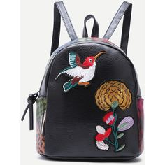 SheIn(sheinside) Black Sparrow and Chrysanthemum Embroidered PU... ($15) ❤ liked on Polyvore featuring bags, backpacks, daypack bag, rucksack bags, embroidery bags, polyurethane bags and knapsack bag