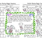 Easter Bunny Magic Squares The Easter Bunny says to hop on over for an eggs-citing time solving magic squares. For each 3 by 3 square, he tells you...