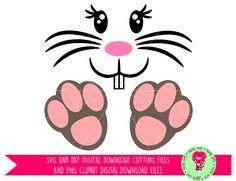 Easter Bunny Face And Feet SVG / DXF Cutting File for Cricut Design Space / Silhouette & PNG Clipart, Digital Download, Commercial Use Ok by DigitalGems on Etsy