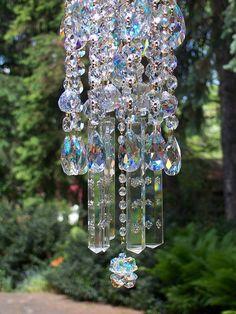 Jeweled Bohemian Aurora Borealis Antique Crystal Wind Chime