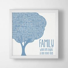Gift for Baby Boy Nursery Art - Family tree wall art nursery décor, new parent, gift for newborn, personalized baby keepsake, family quote