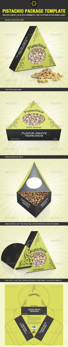 Paper triangle box template. Paper box. Paper favor. Paper favour. Pistachio Packaging Template - Packaging Print Templates