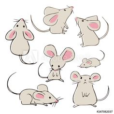 Find Cute Handdrawn Mice Different Poses On stock images in HD and millions of other royalty-free stock photos, illustrations and vectors in the Shutterstock collection. Cute Animal Drawings, Animal Sketches, Cartoon Drawings, Easy Drawings, Drawing Sketches, Maus Illustration, Elephant Illustration, Space Illustration, Landscape Illustration