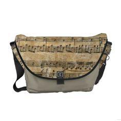 Vintage Music Sheet Messenger Bag