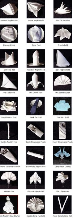 DETAILED napkin folding instructions for 27 different designs