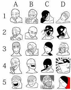 "deeppink-man: ""Creepy Mad face memes I made. Use as desired! Drawing Techniques, Drawing Tips, Drawing Face Expressions, Anime Expressions, Draw The Squad, Drawing Prompt, Poses References, Drawing Reference Poses, Hand Reference"